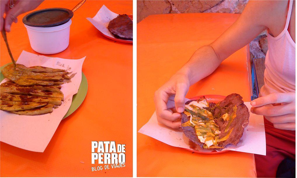 antojos quesadillas flor de calabaza nopalitos asados cacaxtla pata de perro bog de viajes mexico