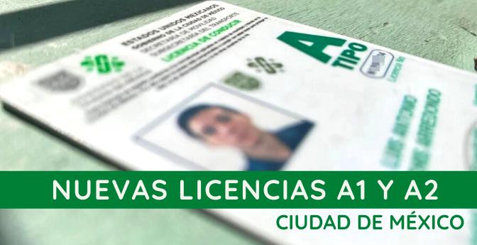 Nuevas licencias A1 y A2 en CDMX